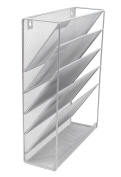 EasyPAG Mesh Wall File Holder Organiser Mounted Literature Rack 5 Compartments ,Silver