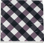Marlo Purple Cheque design 3 ply printed paper napkin by Stewo / 20 Pack - 33x33cm