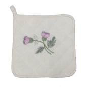 Plain Cream Quilted Kitchen Pot Holder Scottish Thistle Embroidery FREE UK POSTAGE