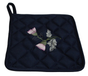 Plain Navy Quilted Kitchen Pot Holder Scottish Thistle Embroidery FREE UK POSTAGE