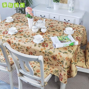 YFF@ILU home deco Rural vintage linen cotton wedding/picnic/camping/birthday party kitchen waterproof square/round table restaurant Fabric printed Table Covers Table flag tablecloth ,red 140*140cm