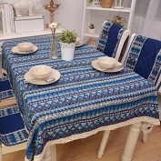 YFF@ILU home deco Rural vintage linen cotton wedding/picnic/camping/birthday party kitchen waterproof square/round table restaurant Fabric printed Table Covers Table flag tablecloth ,24*24-Inch 60*60cm