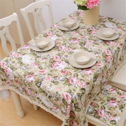 YFF@ILU home deco Rural vintage linen cotton wedding/picnic/camping/birthday party kitchen waterproof square/round table restaurant Fabric printed Table Covers Table flag tablecloth,55*87-Inch 140*220cm