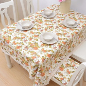 YFF@ILU home deco Rural vintage linen cotton wedding/picnic/camping/birthday party kitchen waterproof square/round table restaurant Fabric printed Table Covers Table flag tablecloth ,35*55-Inch 90*140cm