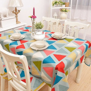 YFF@ILU home deco Rural vintage linen cotton wedding/picnic/camping/birthday party kitchen waterproof square/round table restaurant Fabric printed Table Covers Table flag tablecloth ,55*55-Inch