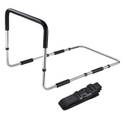 AW Medical Supply Bed Rail Handle Adjustable Height Bed Assist Bar Grab Bar Safety Hand Rail with Safety Strap