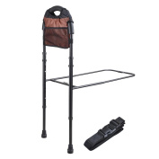 AW Medical Supply Bed Rail Handle with Storage Pocket Adjustable Height Bed Assist Bar Safety Hand Rail