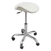 eyepower MST-404 Cosmetic Stool rotates 360° adjustable in height | ergonomic saddle shaped | supported weight 120 Kg | swivel chair seat perfect for beautician hairdresser atelier clinic | White