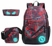 SellerFun Boy 20L Fashion School Bag Backpack with Florescent Mark 3 Sets/2 Sets