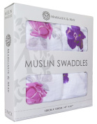 """Margaux & May Muslin Baby Swaddle Blankets """"Pink & Purple Flowers"""" 120cm x 120cm Ultra Soft Muslin Blankets - Perfect Baby Shower Gift"""