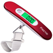 FREETOO Luggage Scale Portable Digital Travel Suitcase Scales Weights with Tare Function for Travel Outdoor Home 110 lb/ 50KG Capacity Red