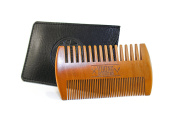 Best Wooden Beard Comb Dual Action - Fine & Coarse Teeth w/ Protective Synthetic Leather Case, Top Beard & Moustache Comb by Viking Revolution