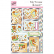 docrafts ANT169605 Anita's A4 Foiled Decoupage Sheet, Nursery Bear, Multicolor