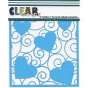 Clear Scraps Stencils 30cm x 30cm -Swirl Hearts