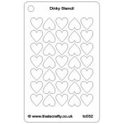 That's Crafty Dinky Stencil 7.6cm x 12cm -Hearts Background