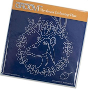 Groovi Parchment Embossing Plate - Oak Deer A5 - Laser Etched Acrylic for Parchment Craft