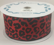 #9 Lovely Leopard Print Red Satin Wired Ribbon
