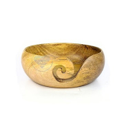 Yellow Teak Wood Crafted Handmade Premium Yarn Ball Storage Bowl With Spiral Cut | Nagina International