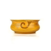 Kitchen Pot Styled Yellow Teak Wood Portable Yarn Storage Knitting Bowl | Nagina International