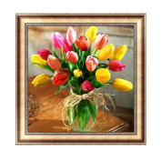 Julyshop 30cm x 30cm Rhinestone 5D Diamond Painting Tulip Flower Cross Stitch for Home Bedroom Decor