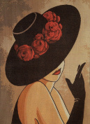 "Needlepoint Kit ""Lady with hat"" 9.8""x13.8"" 25x35cm printed canvas cod.607"
