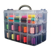 Bins & Things Stackable Storage Container with 30 Adjustable Compartments, Clear, X-Large