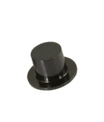 Black Plastic Mini Top Hats for Doll House Miniatures Favours Crafts 24mm