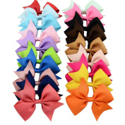 20pcs/lot Mutilcolor 10cm Grosgrain Ribbon Hair Bows Girl Boutique Bow Baby Childs Handmade Diy Hairbows with Clip Kids Hair Accessories