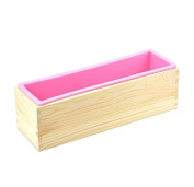 6MILES 1 Pcs Pink Flexible Rectangular Silicone Soap Mould with Pine Wood Box for Homemade Produce 1.2 Kg Art Craft DIY Soap Making Moulds Kitchen Tool Set