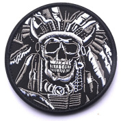 WZT Death Skull War Chief Indian Usa Army Morale Military Tactical Swat Hook and loop Patch