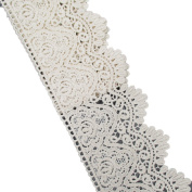 8.9cm Wide In Beige Cotton Embroidered Eyelet Lace Trim Ribbon For Garment Home Decor DIY Craft Supply By 5 Yards
