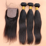 Slove 100% Unprocessed Brazilian Straight Free Part Virgin Human Remy Hair 4x4 Silk Base Closure with 3 Bundles Bleached Knots with Baby Hair 14 16 18 Closure 12