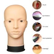 Wig Head, RIUDA Mannequin Flat Head Practise Make Up Massage Training Model Eyelash Extensions