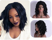 Short Wavy Bob Wigs Black Lace Front Wig For Women Synthetic Wig Half Hand Tied Heat Resistant Fibre Hair