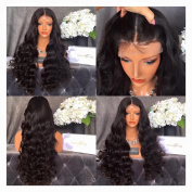 Black Beauty Wig 100% Brazilian Real Human Hair Lace Front Wigs with Baby Hair Bleached Knot Remy Human Hair Full Lace Wigs Body Wave Middle Part 46cm #Natural Colour Full Lace Wig