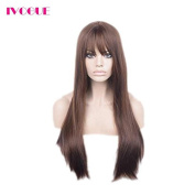 Dark Brown #4 Best Malaysian Human Hair Lace Front Wigs with Bangs Glueless Full Lace Front Virgin Hair Wig for Black Women