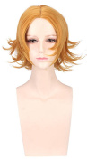 OYSRONG New 30cm Golden Short Curly Fluffy Soft Touch Cosplay Lace Cap Wig For Women