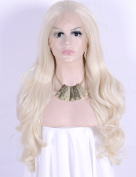 Women's Synthetic Lace Front Wig Blonde For Women Glueless Long Wavy Wigs For Women Heat Resistant Fibre Hair Half Hand Tied 60cm