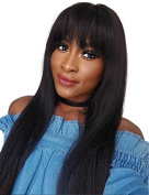 Glueless Silky Straight Synthetic Lace Front Wig with Bangs For Black Women