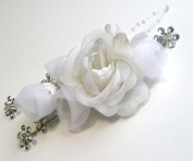 White Sheer Flower with Small Silver Rhinestone Hair Flower Accessory