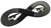 Parcelona French Infinity Black Cellulose Acetate Medium Hair Clip Barrette
