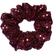 Burgundy Metallic Sequin Scrunchie