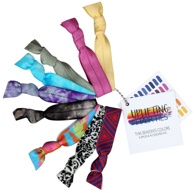 Uplifting Hair Ties by THIS SEASON'S colours Assorted Colours, Set of 9, No crease Ouch less Ponytail Holders, Elastic (3 Print, 3 Tie Dye & 3 Solid Coloured Hair Ties)