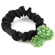 Elegant Shimmery Bead Silky Satin Hair Elastic - Scrunchie Pom Hair Tie - Vibrant Green & Black