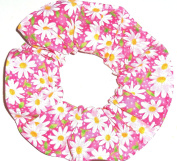Floral Hair Scrunchie Pink Daisies Flowers Handmade by Scrunchies by Sherry Ponytail