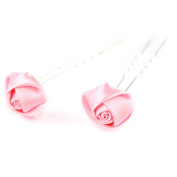 2 pc - Elegant Rose Flower Ribbon - Double Prong Hair Pin Clips Pack Bridal Wedding Prom - Baby Pink