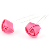 2 pc - Elegant Rose Flower Ribbon - Double Prong Hair Pin Clips Pack Bridal Wedding Prom - Bubble Gum Pink