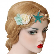 Beach Starfish Shell Flower Hemp Rope Headband for Girls Women.Photography props Mermaid Handmade Hair Band