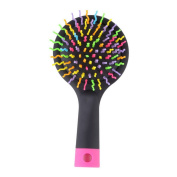 Black Portable Detangling Hair Brush With Back Mirror for Wet Or Dry Hair