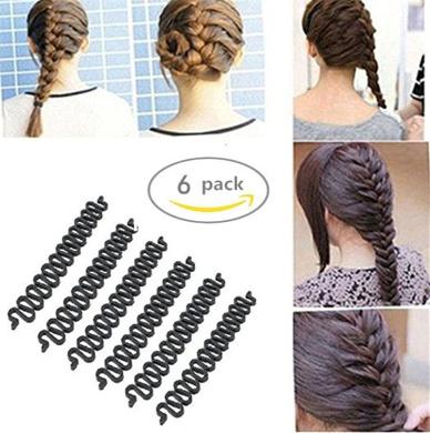 AnHua® 6PCS Fashion French Hair Styling Clip Stick Bun Maker Braid Tool Hair Accessories Twist Plait Hair Braiding Tool (Black)
